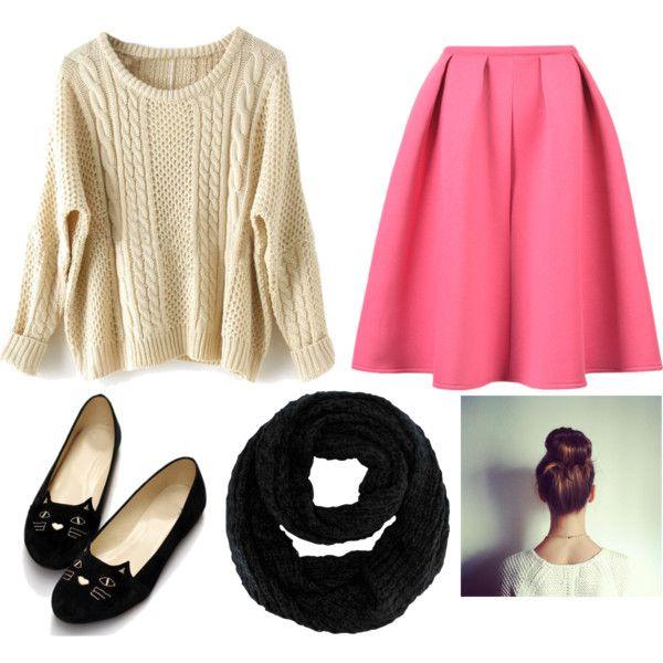 Nerdy Girl outfit // #tan #sweater #sweaterweather #tansweater #skirt #pinkskirt #cat #catflats #black #scarf #infinityscarf #blackscarf #brunette #bun #hair #fashion #outfit #nerd: