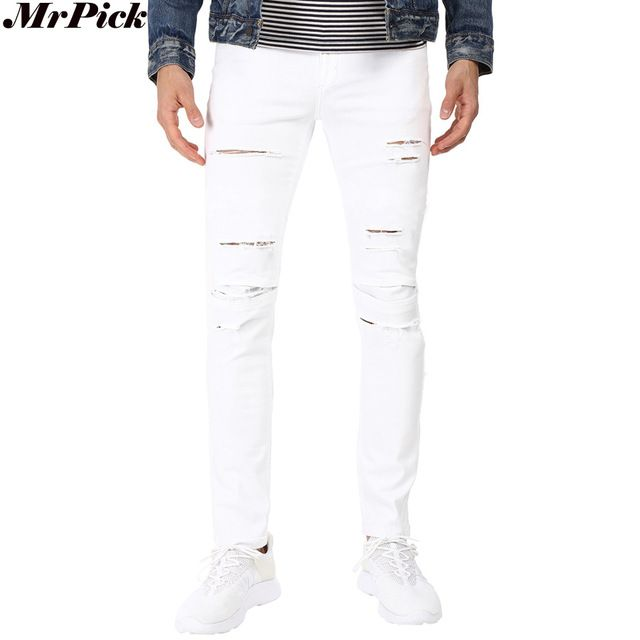 Fair price 2017 New Men Shredded Skinny Jeans Tapered Knee Ripped Hole Destroyed Distressed Pencil Stretchy Biker Jeans T0301 just only $18.85 with free shipping worldwide  #jeansformen Plese click on picture to see our special price for you