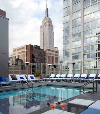 The indoor/outdoor pool at Gansevoort Park Avenue has views of the Manhattan skyline, including the Empire State Building. (From: Photos: 11 Amazing New Hotel Pools)