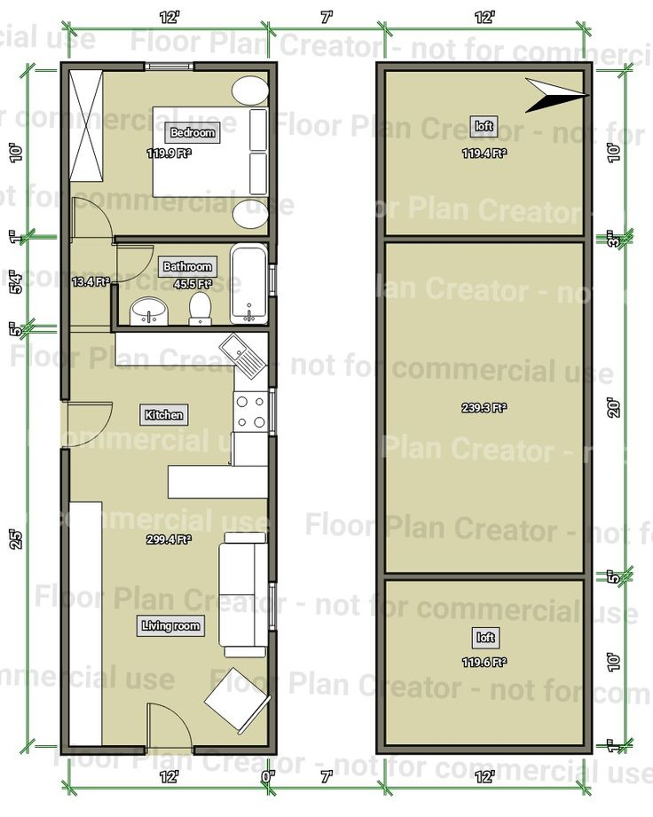12x40 barn cabin floorplan