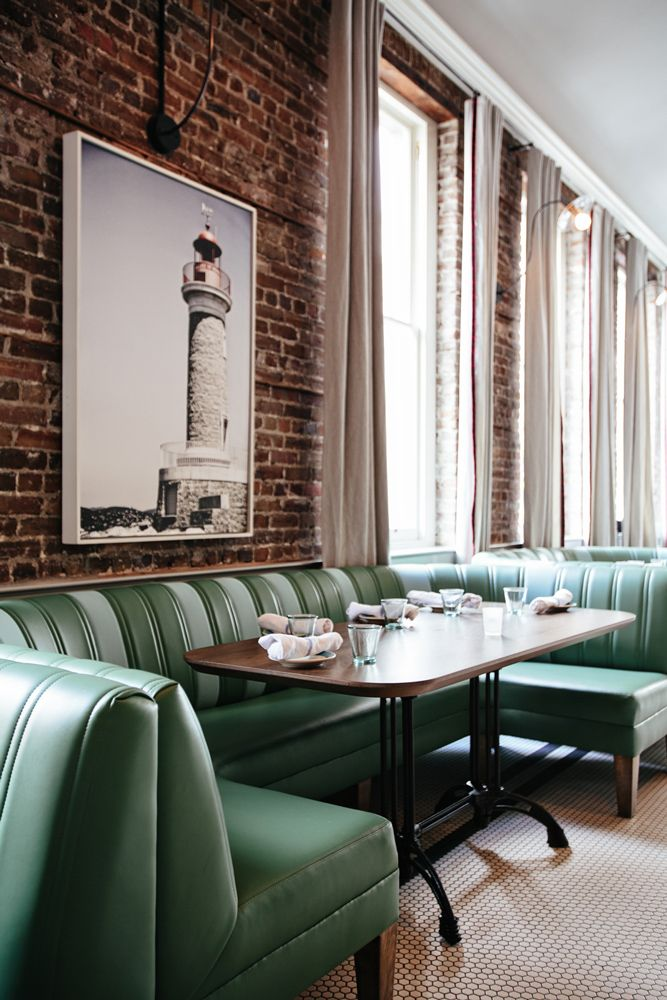 The Darling Oyster Bar – Charleston, SC Custom Banquettes by Bjork Studio. Design by Smith Hanes Studio