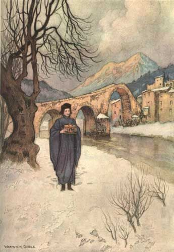 Lise, in the Snow, with the Casket - 26 - The Months - Warwick Goble ill, Stories from the Pentamerone, London 1911 (Il Pentamerone, The Story of Stories by Giambattista Basile, 1634-6)
