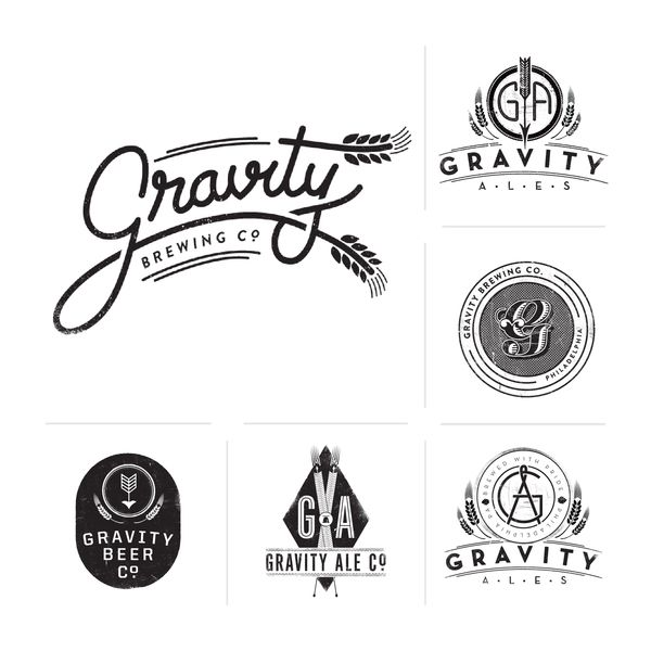 Gravity Brew Co. I love seeing different concepts for the same design. Its a great look at the designer's thought process.