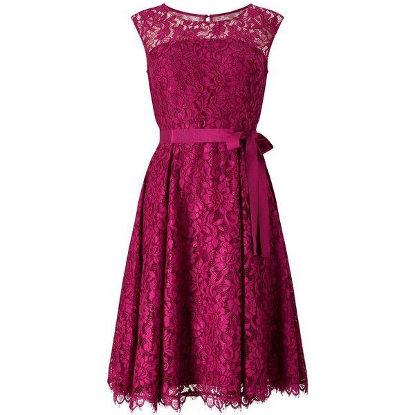 Precis Petite Jada Lace Prom Dress (21580 RSD) ❤ liked on Polyvore featuring dresses, petite, pink, women, pink lace cocktail dress, purple dresses, prom dresses, lace dress and petite prom dresses