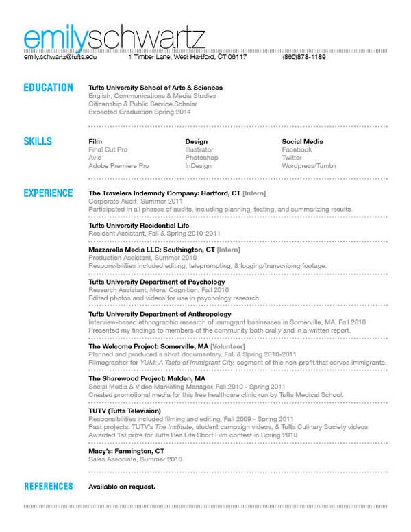 my resume by emily schwartz via behance