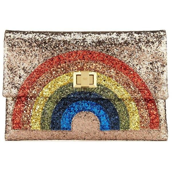 Anya Hindmarch Valorie Glitter Rainbow Clutch ($650) ❤ liked on Polyvore featuring bags, handbags, clutches, purses, kiss-lock handbags, anya hindmarch handbag, handbags purses, anya hindmarch purse and glitter handbags