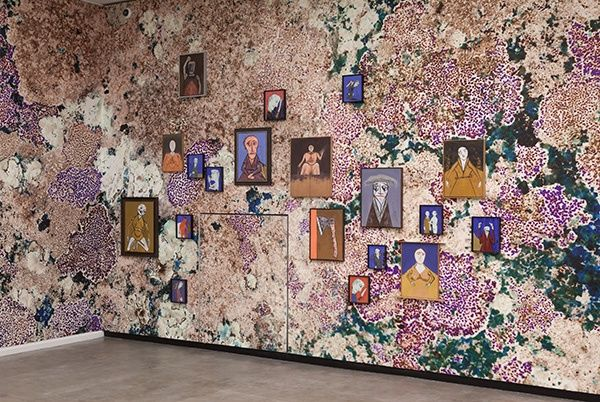"""""""Salon der Angst"""", installation view at Kunsthalle Wien, 2013; Florin Mitroi; Zin Taylor, The Proposal of a Surface (Lichen Wall), 2013"""