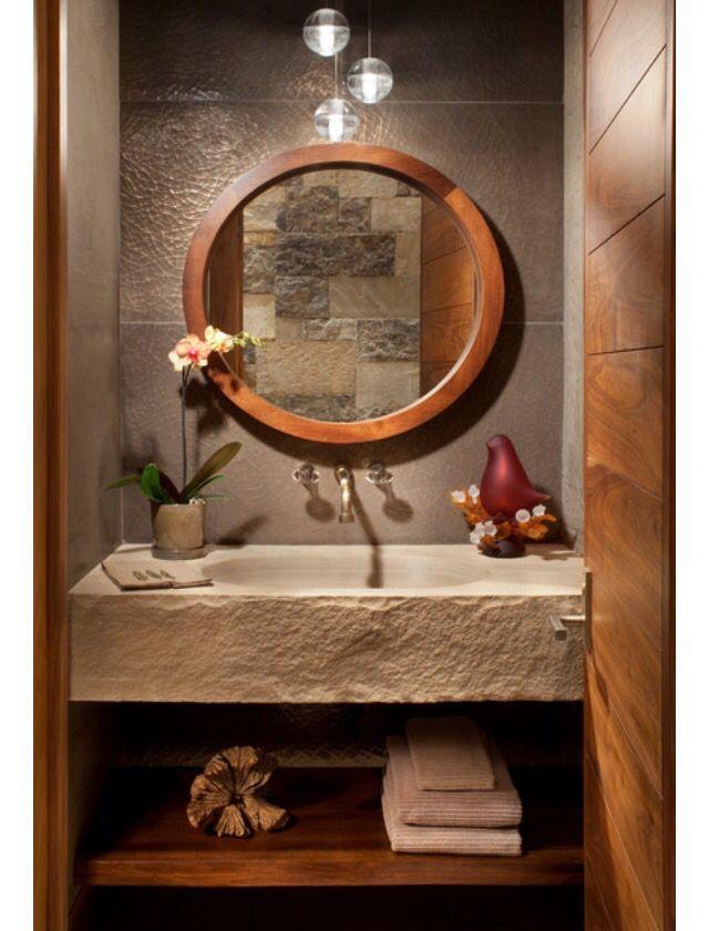 Tropical Bathroom Mirror Design