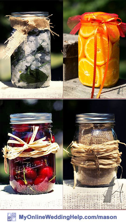 Fruit- or decoration-filled mason jar decorations and centerpieces. These are ideas for filling up mason jars to use as wedding decor.