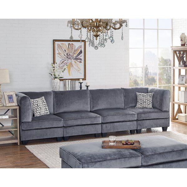 Avis 120 Wide Velvet Square Arm Modular Sofa Sofa Furniture Couch Fabric