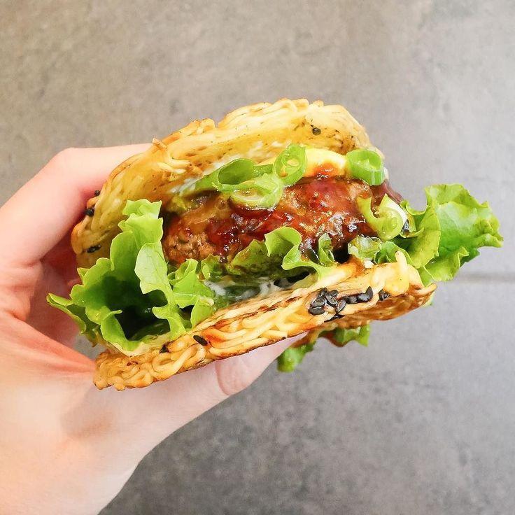 Ramen Burger | #hangrydiarysavory @tatsuramen  7111 Melrose Ave Los Angeles CA 90046  Wagyu Ramen Burger  7   Follow us on Snapchat: hangrydiary Tag your friends