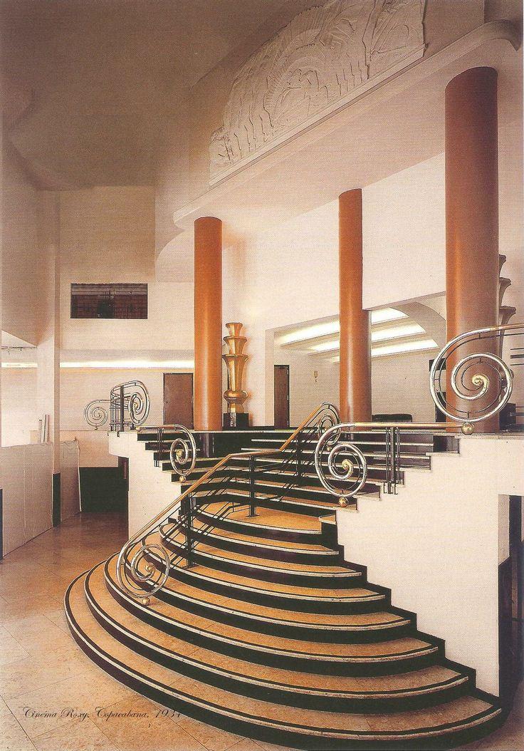 Brasilian Art Deco: staircase by Raphael Galvao, Cinéma Roxy, Copacabana, Rio de Janeiro, Brasil (1934).