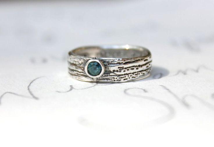 recycled silver woodgrain bark ring . custom fair trade peacock blue sapphire ring . secret message
