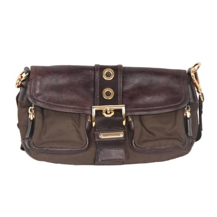 For Sale on - - PRADA Tessuto Buckle Shoulder Bag - Contemporary design and  an edgy bold look - Brown 'Tessuto' canvas & Leather - Top flap with a  strap ...