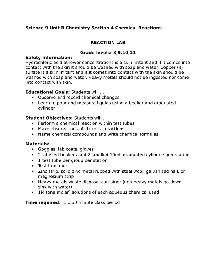 Science Observing Chemical Reactions High School Lab Resource Preview