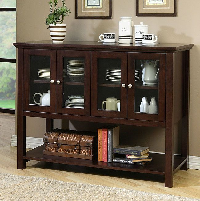 Dark Walnut Buffet Sideboard Dining Room Credenze Kitchen