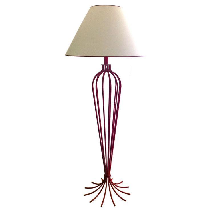 "Jean Royere Exceptional Red Floor Lamp Model ""Millepatte"" ca1950's"