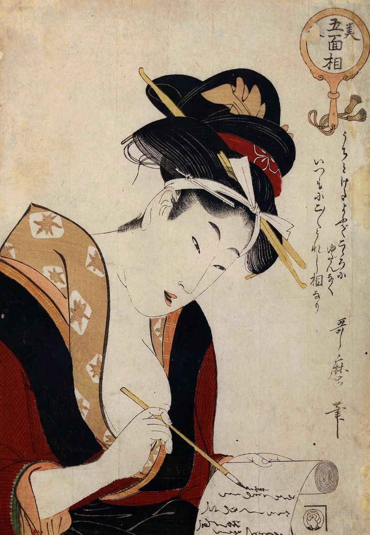 Woman writing a letter by Kitagawa Utamaro, 1803-1804 (PD-art/old), Muzeum Narodowe w Krakowie (MNK)