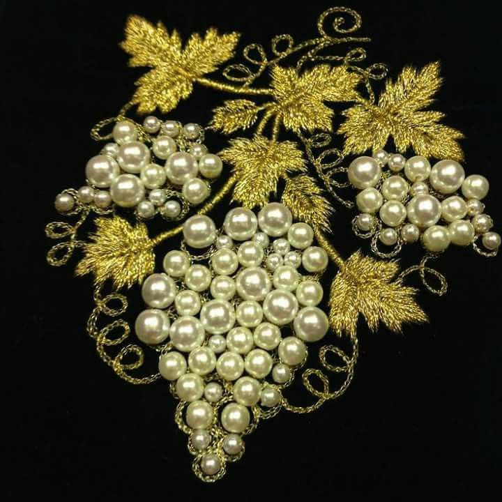 Pearls & Gold-work Embroidery on Black Velvet