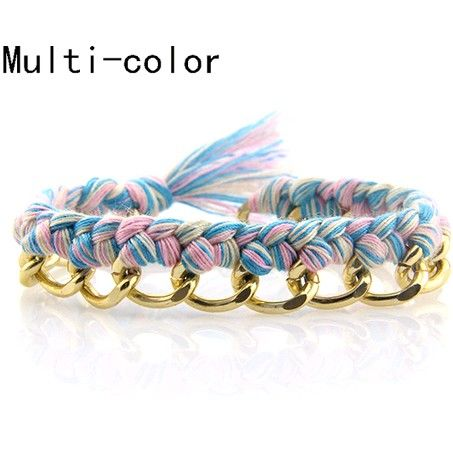 A7 Friendship multi-color weave golden bracelet [bra7] - $7.99 : Fasion jewelry promotion store,Shop cheap fashion jewelry and cosplay wigs at www.favorwe.com