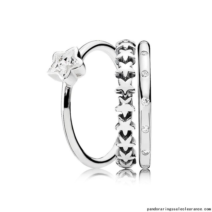 Pandora rings sale clearance Falling Stars Ring Stack, pandora stacking  rings sale together, pandora rings buy two get one for free, so we make  this pandora ...
