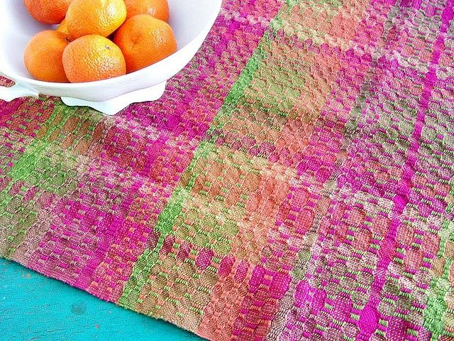 Ms and Os kitchen towel, woven in Swedish cotton. By kindred threads on flickr.:
