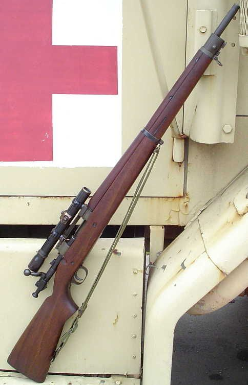 Springfield M1903A4 (sniper) Rifle with a M84 Scope - An American clip-loaded, 5-shot, bolt-action service rifle used primarily during the first half of the 20th century. After Korean War, some numbers of them remained in USMC sniper use as late as the Vi