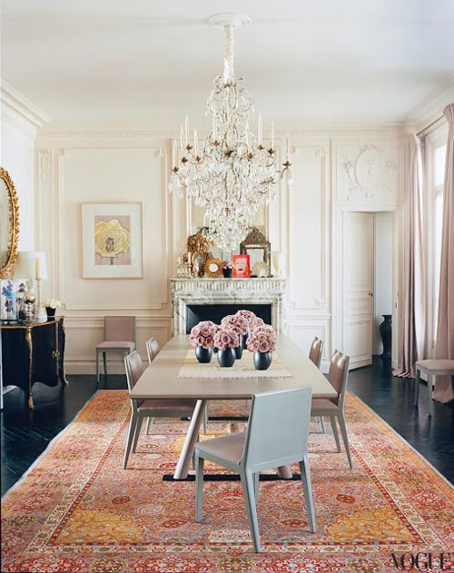 LWren Scotts Stunning Paris Dining Room With Classic Oriental Rug Mouldings Chandelier And Modern Set Love The White Back Paneling