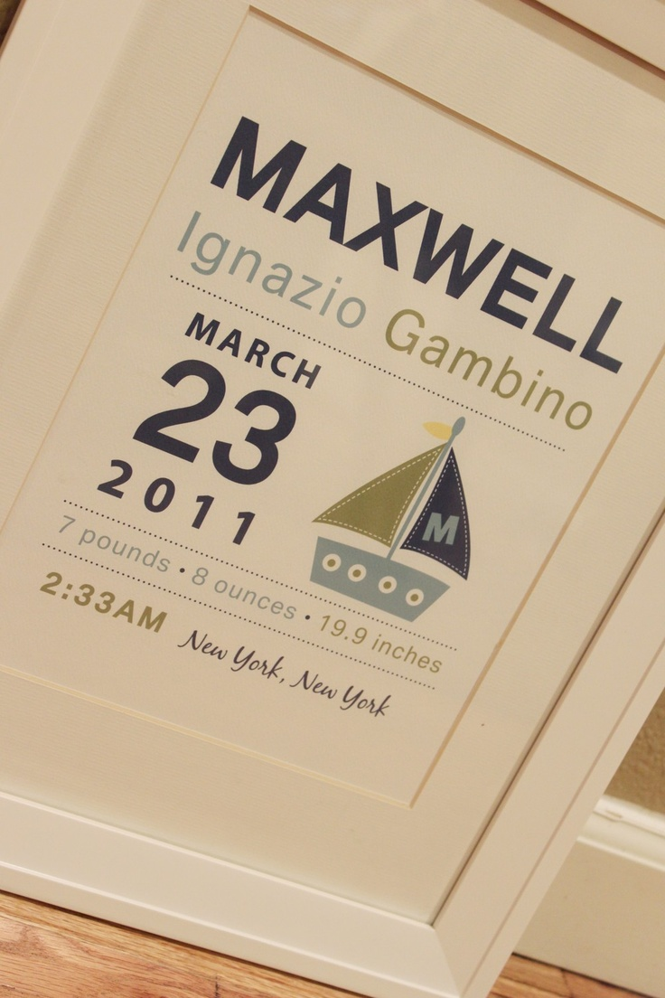 Sailboat Nursery Birth Announcment Wall art 8x10 by polkaprints