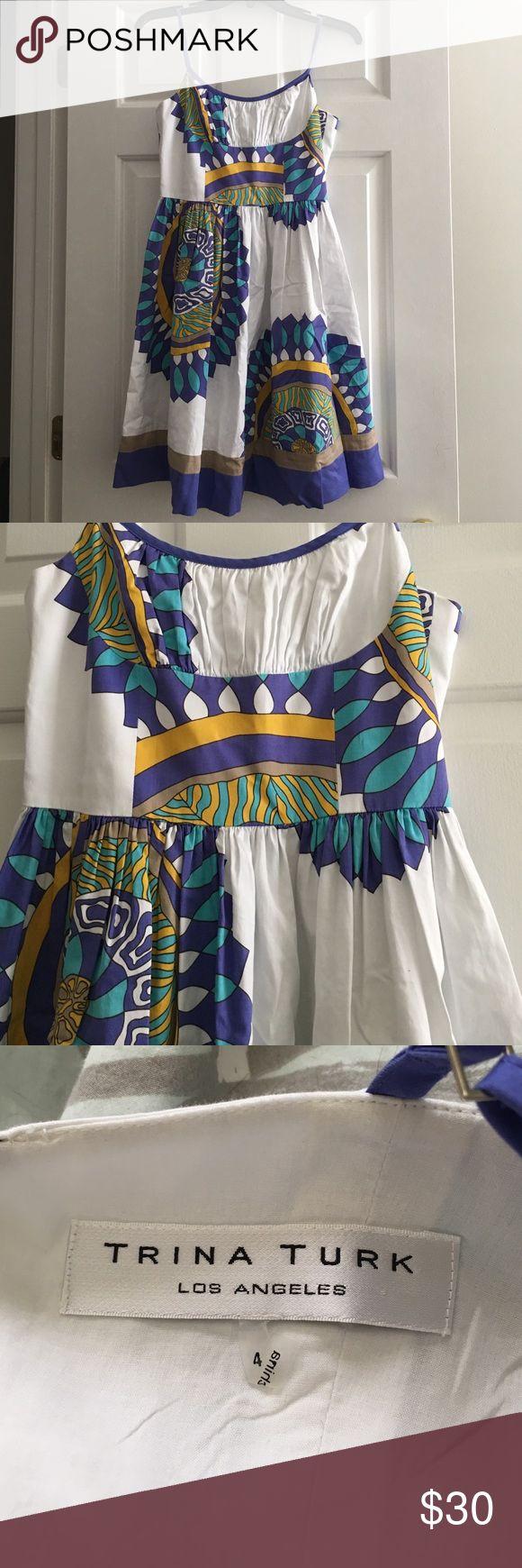 Trina Turk dress Purple and teal dress.  Adorable on. Trina Turk Dresses Midi