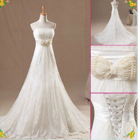 Strapless Empire Waist Lace A-line wedding dress with Bow #ShopSimple