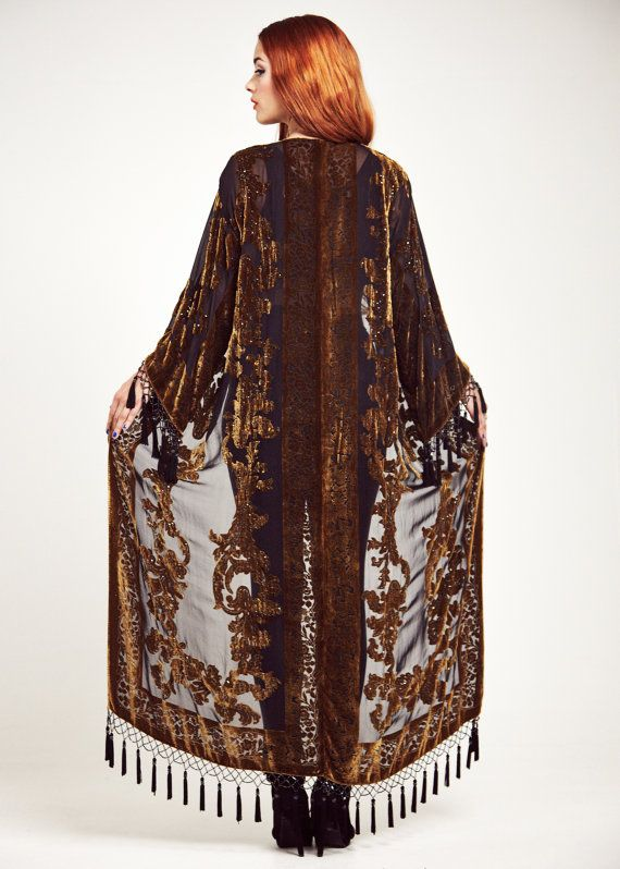 Gold Velvet Fringe Kimono Maxi Duster Jacket Golden by shevamps, £169.00