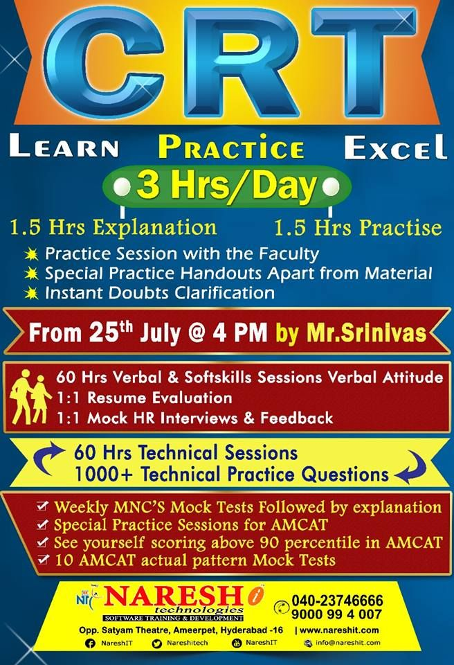 Attend Crt Training By Mr Srinivas On 25th July 4 00 Pm Course Content Https Nareshit In Crt Training Crt Train Classroom Training