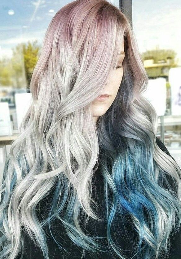 Pink gray blue ombre dyed hair pastel inspiration