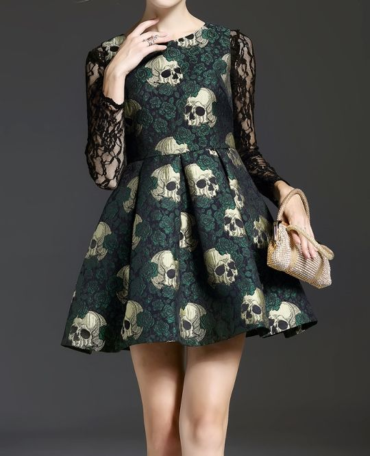 For the fancy days. Skull Printing Lace-Paneled Dresshttp://shrsl.com/?~9w29
