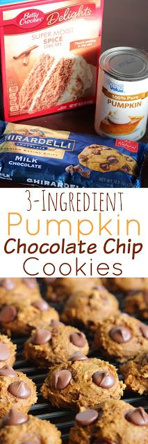 3-Ingredient Pumpkin Chocolate Chip Cookies - So easy, but they taste like they are made from scratch. (yummy cakes 3 ingredients)