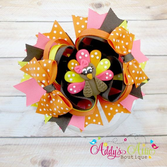 Turkey Hair Bow Thanksgiving Hair Bow Over By