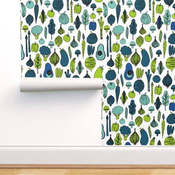 Vegetables Wallpaper Vegetables Aubergine Broccoli By Andrea Lauren Custom Printed Remo Self Adhesive Wallpaper Stick On Wallpaper Peel And Stick Wallpaper