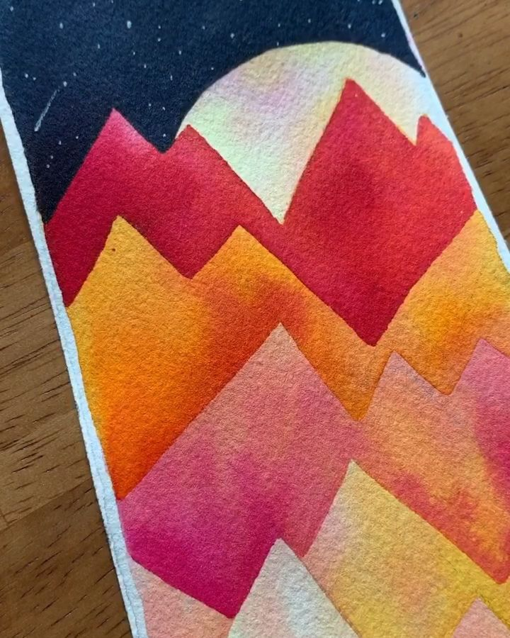 Negative space watercolor mountains