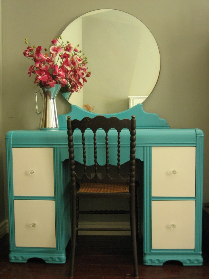 I have my mother's vanity that looks a lot like this. Want to paint it this color, beautiful