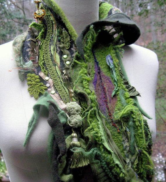 Wool silk pixie NECKWARMER/ SCARF/  Wrap with  by amberstudios, $54.00