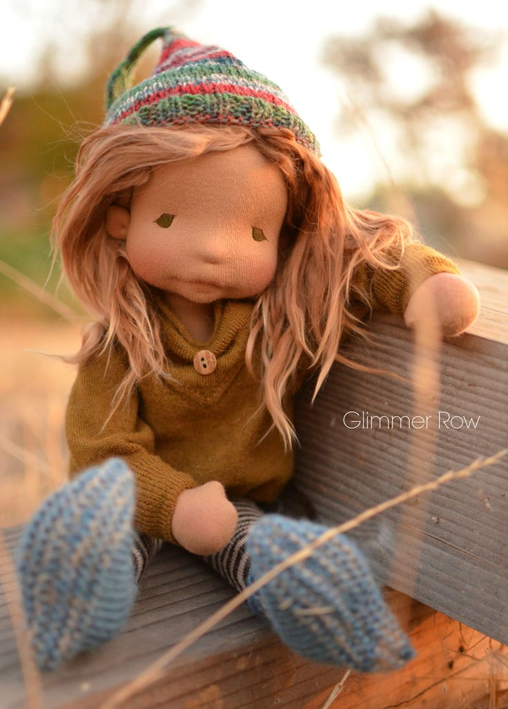"14"" natural fiber, waldorf inspired, cloth art doll by Glimmer Row"