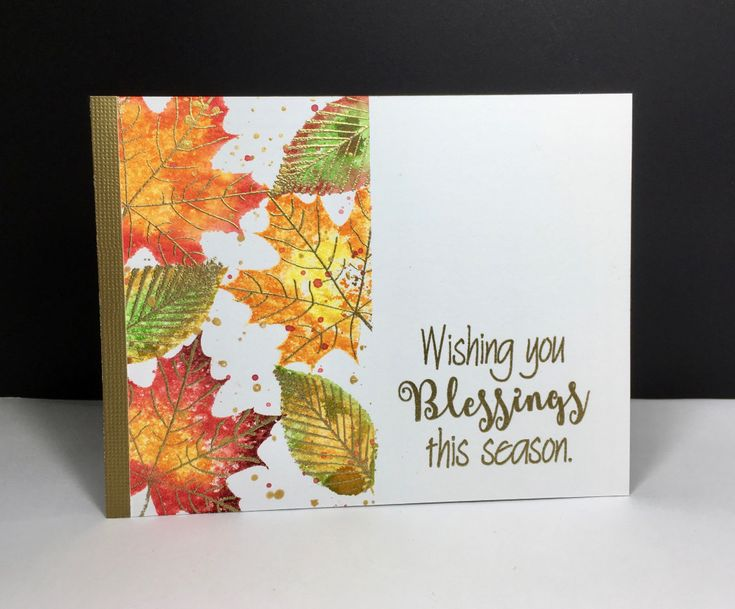 handmade Fall card from StampMommaA: Season's Blessings ... one layer with masked off side ... watercolor paper ... solid maple leaf color with several colors before stamping ... gold veins and splatters ... lovely card!