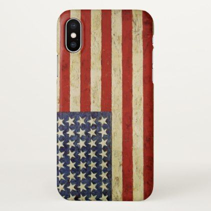 Vintage American Flag iPhone X Case - vintage gifts retro ideas cyo