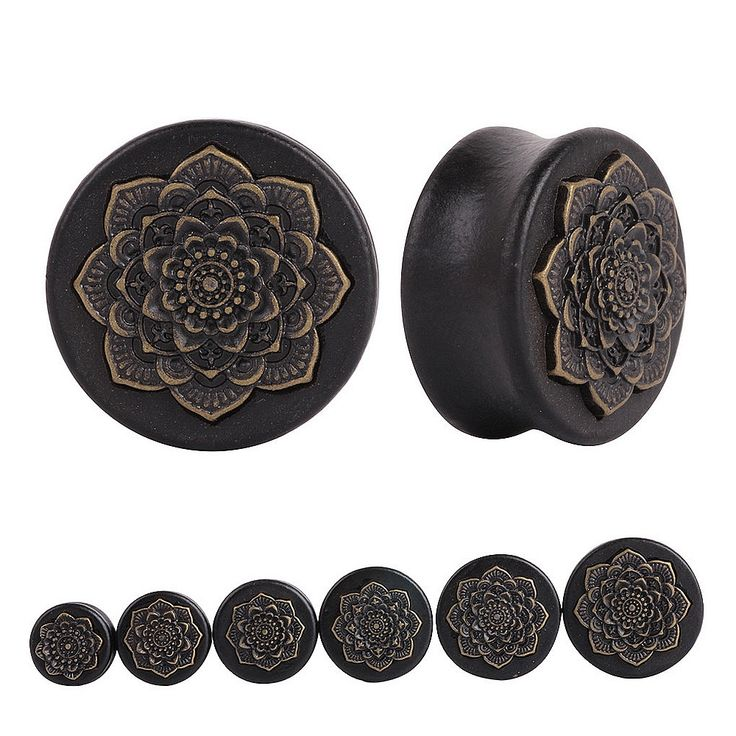 SwanJo Ear Gauges Plugs Pircing Ear Expander Natural Wooden Plugs Mandala Flower Gauges Flesh Ear Tunnels Body Piercing Jewelry
