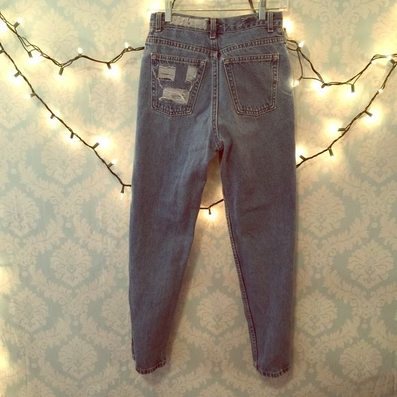 Vintage high waisted jeans Distressed vintage high waisted jeans. Medium wash. 26inch waist. Don't ask me to model my butt doesn't fit or else I would have kept them no trades Vintage Pants
