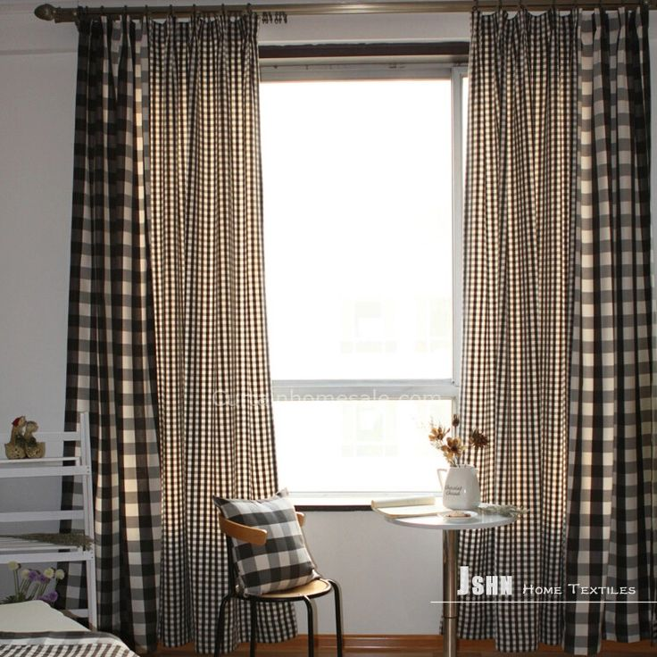 Wonderful Plaid Black Style Discount Curtains uk