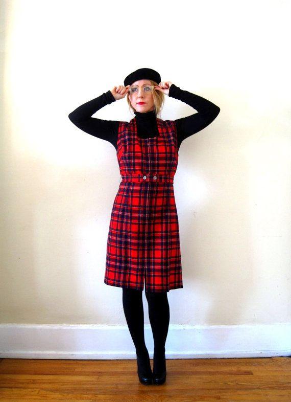 70s vintage plaid dress styles