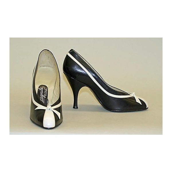 1950's Clothes / Pumps 1956, Italian, Made of leather via Polyvore