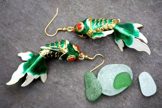 Boucle d'oreille, koi, carpe, vert, boho, peint, colorées, coloré, summerl, exotique à la main, bijoux bijoux palomita, hippie, jungle, 46 de poisson